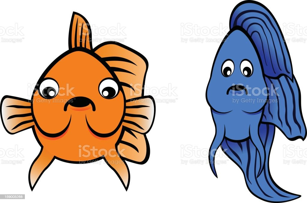 Betta Fish and Goldfish Cartoon royalty-free stock vector art