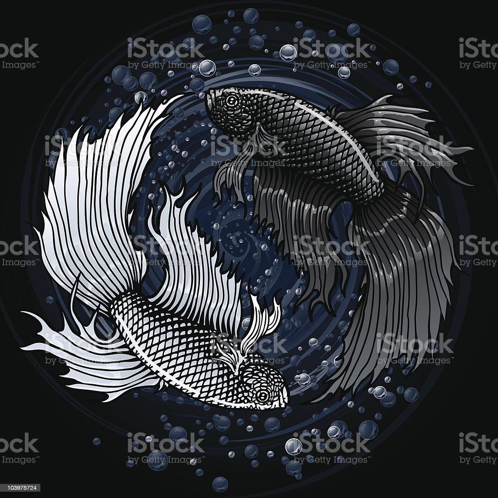 Betta Yin Yang royalty-free stock vector art
