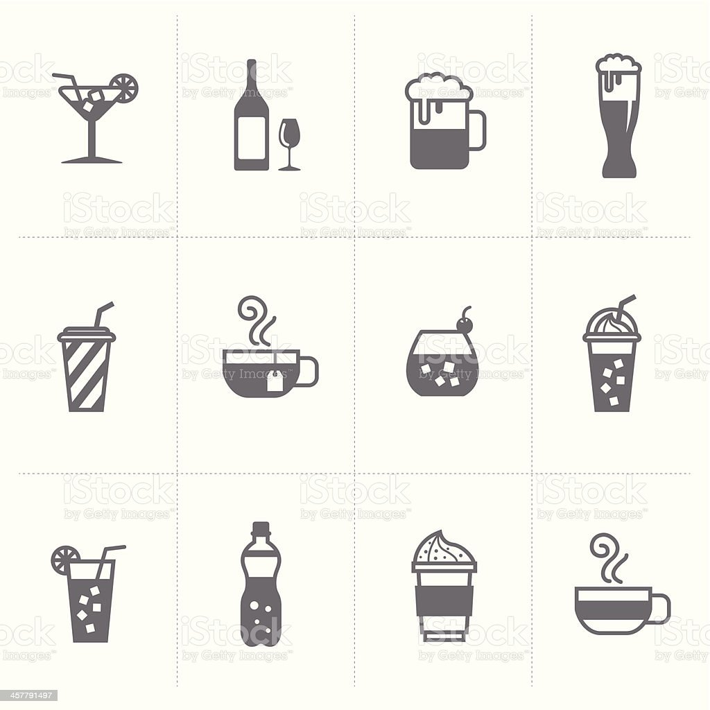 beverage and beer icons set vector art illustration