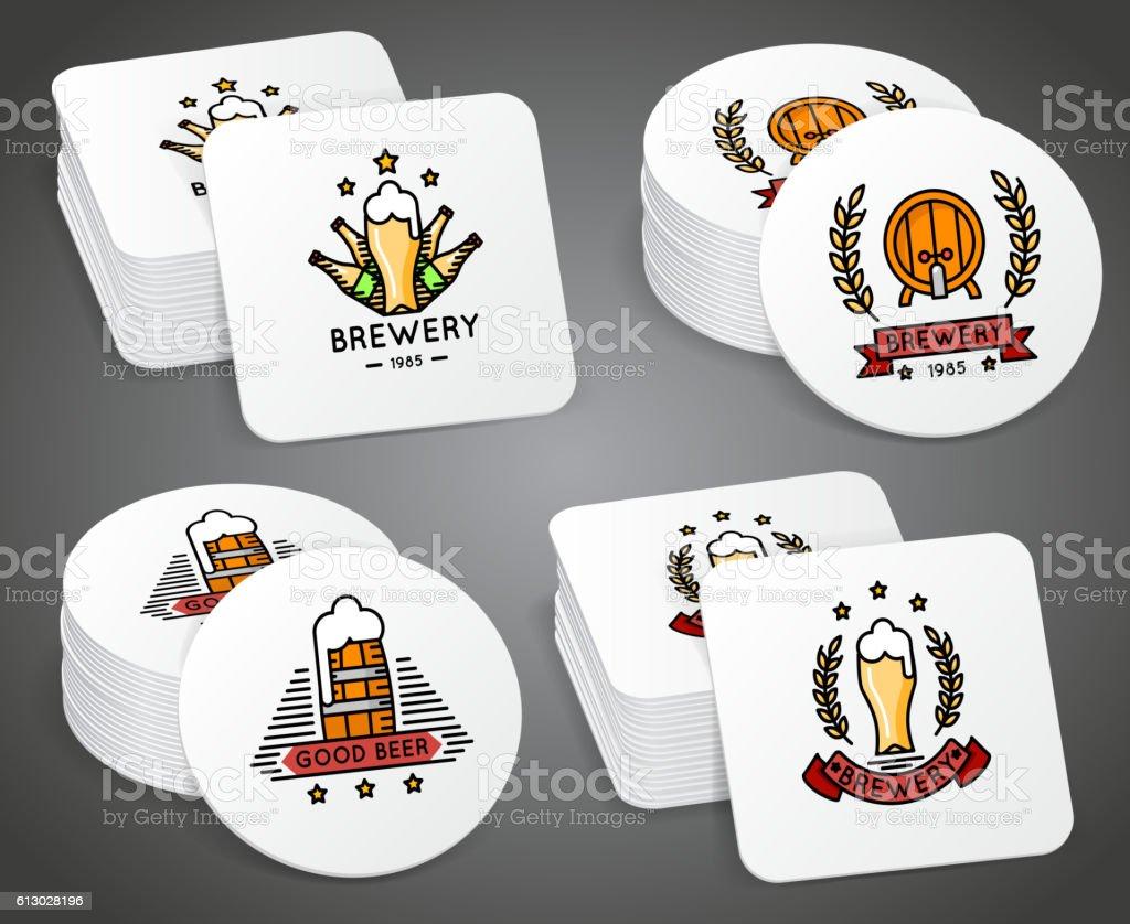 Beverage coaster with beer labels vector set vector art illustration