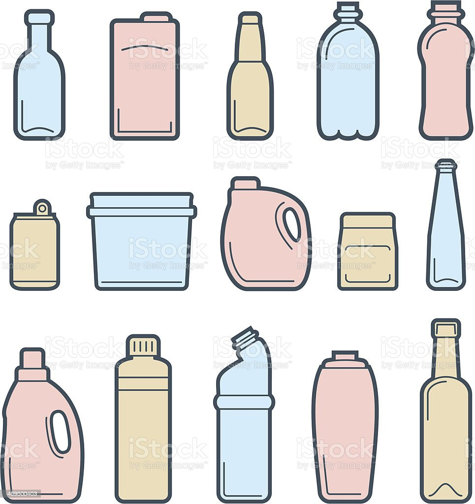 Beverage container icons vector art illustration