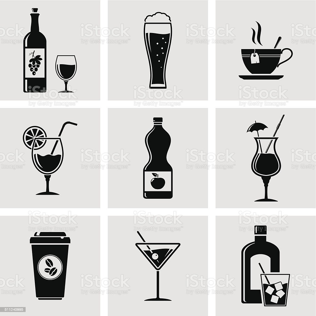 Beverage icons vector art illustration