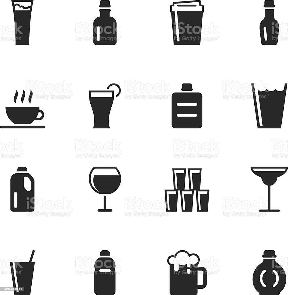 Beverage Silhouette Icons | Set 2 vector art illustration