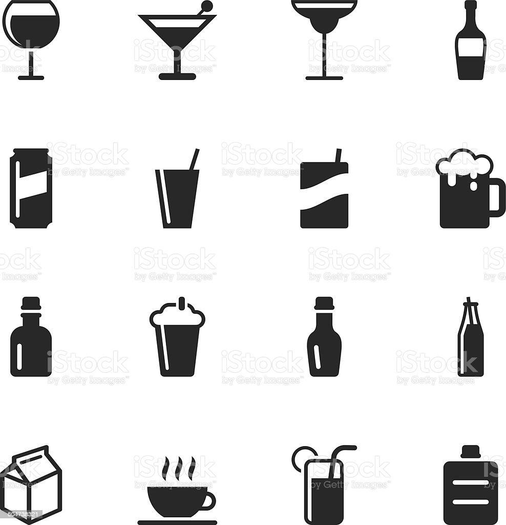 Beverage Silhouette Icons | Set 3 vector art illustration