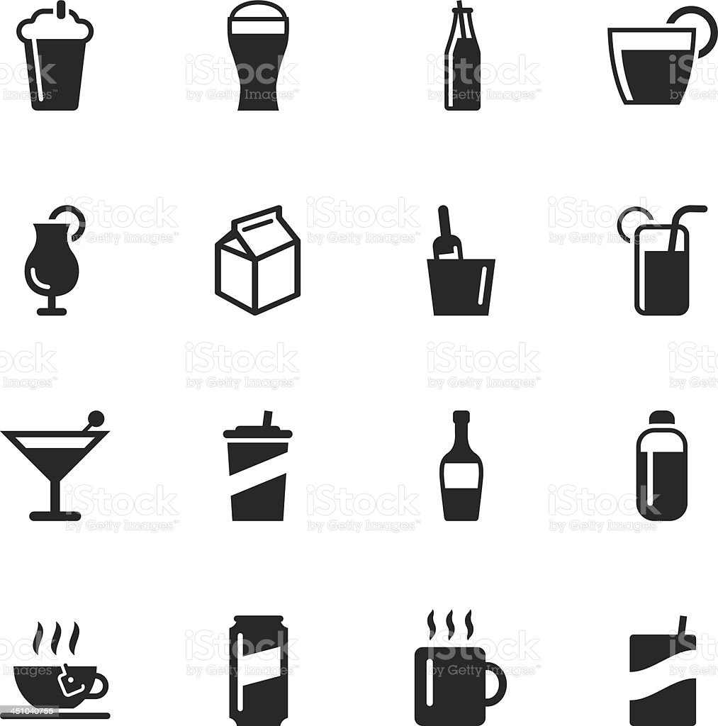 Beverage Silhouette Icons vector art illustration
