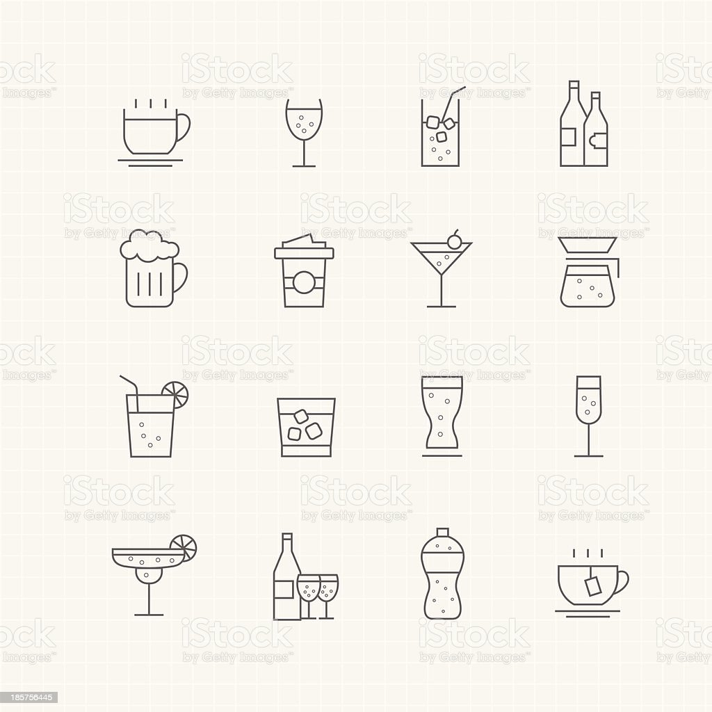 Beverage vector thin line symbol icon vector art illustration