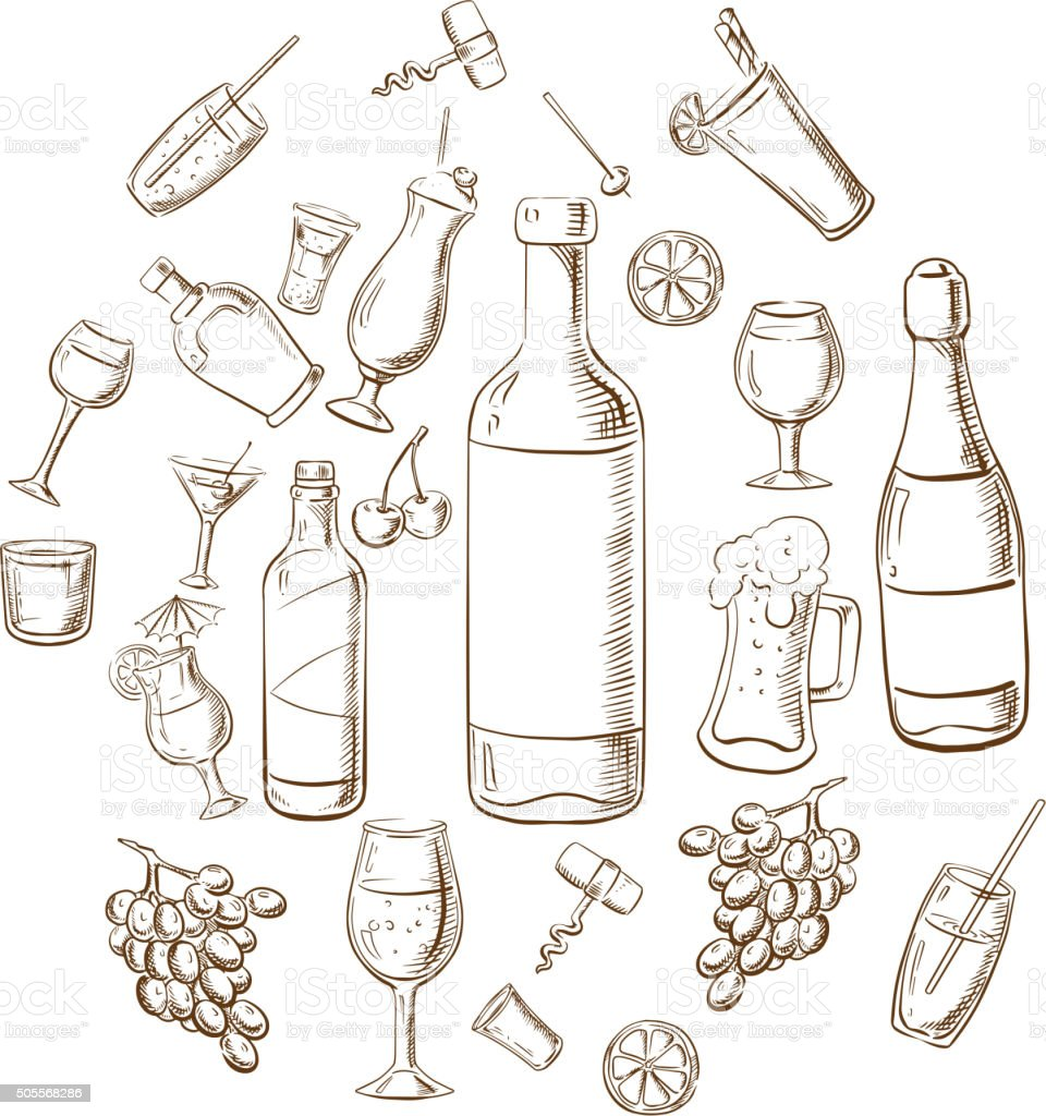 Beverages, alcohol drinks, fruits and glasses vector art illustration