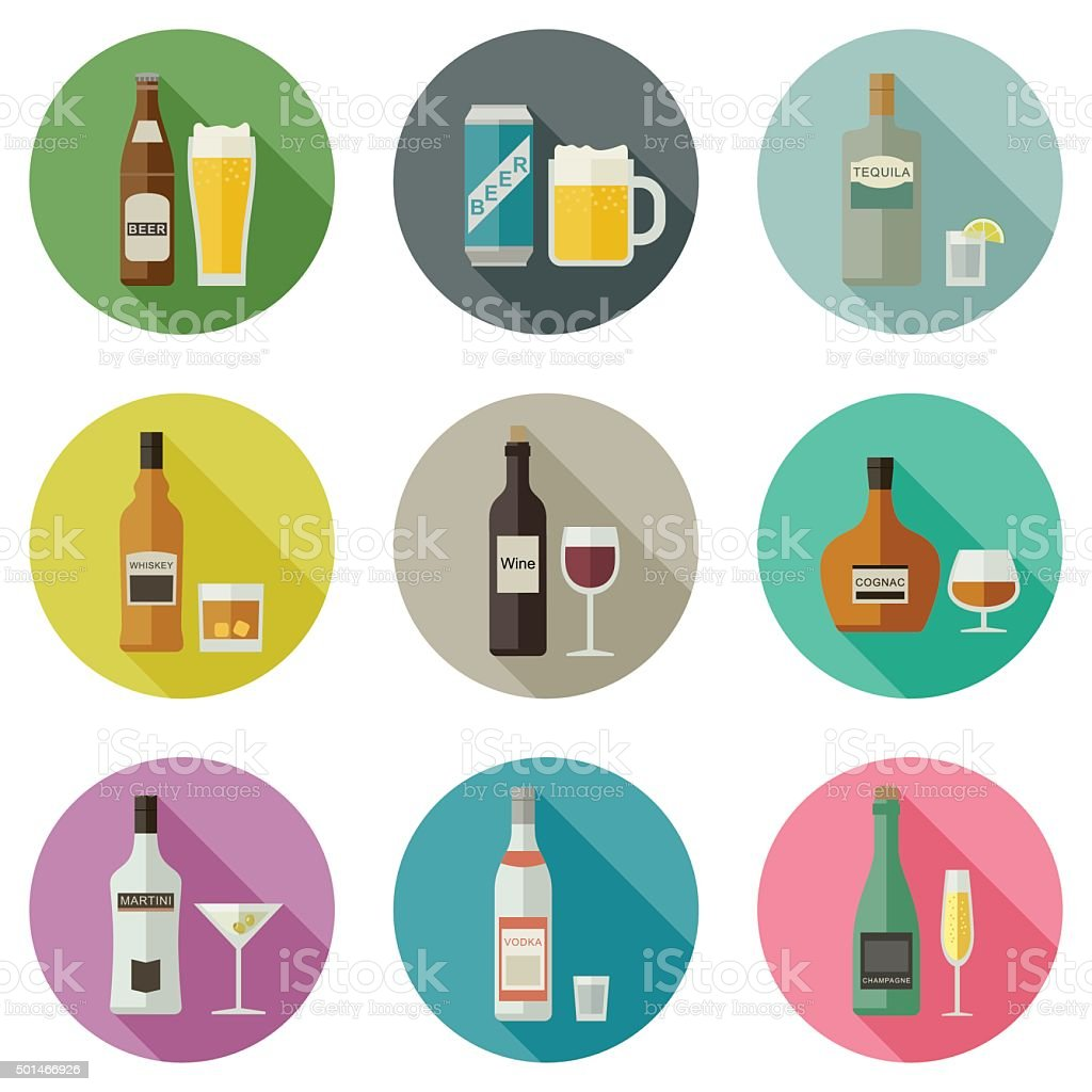 Beverages and drinks icons. vector art illustration