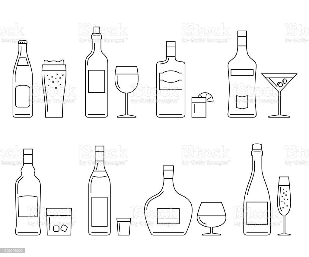 Beverages and drinks thin icons vector art illustration