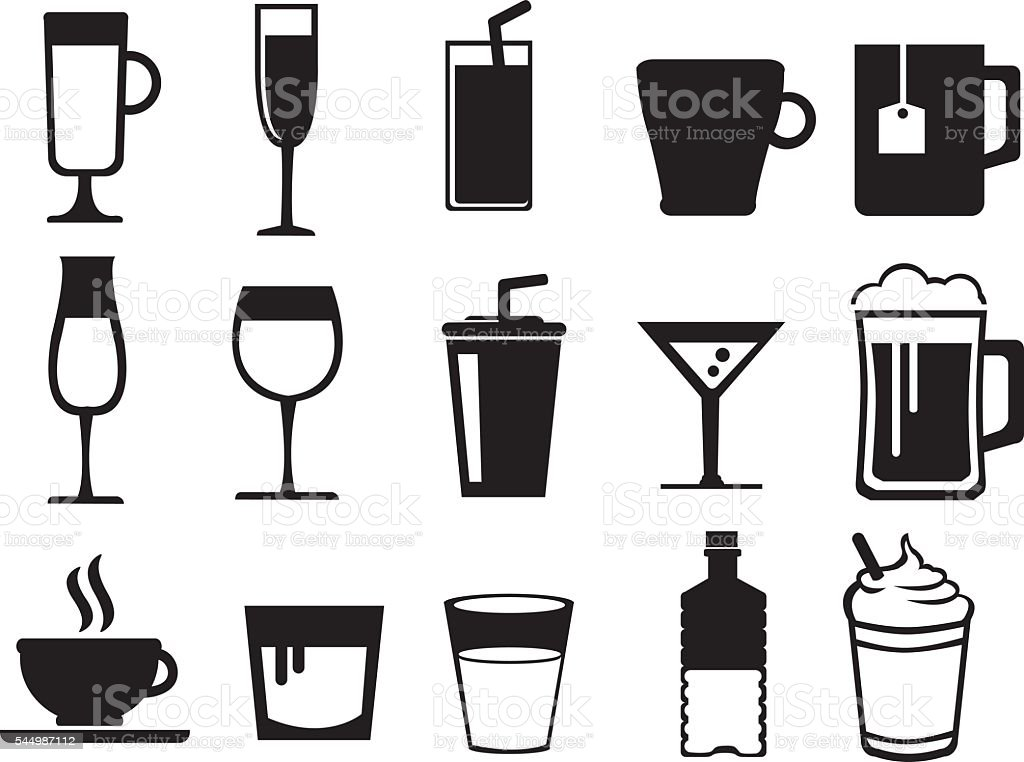 Beverages Black and White Vector Icon Set vector art illustration