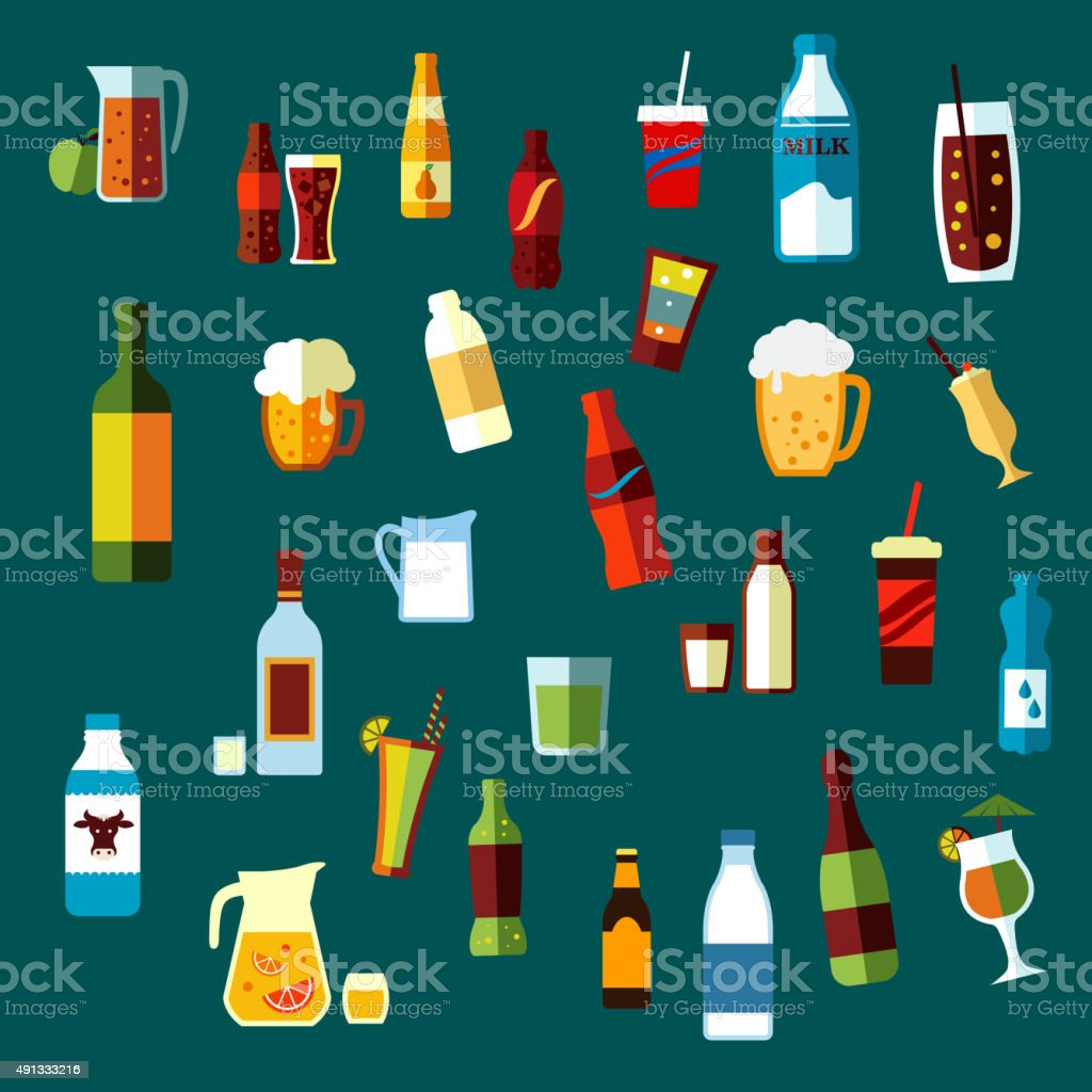 Beverages, cocktails and drinks flat icons vector art illustration