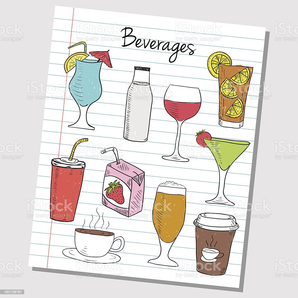 Beverages doodles - lined paper royalty-free stock vector art