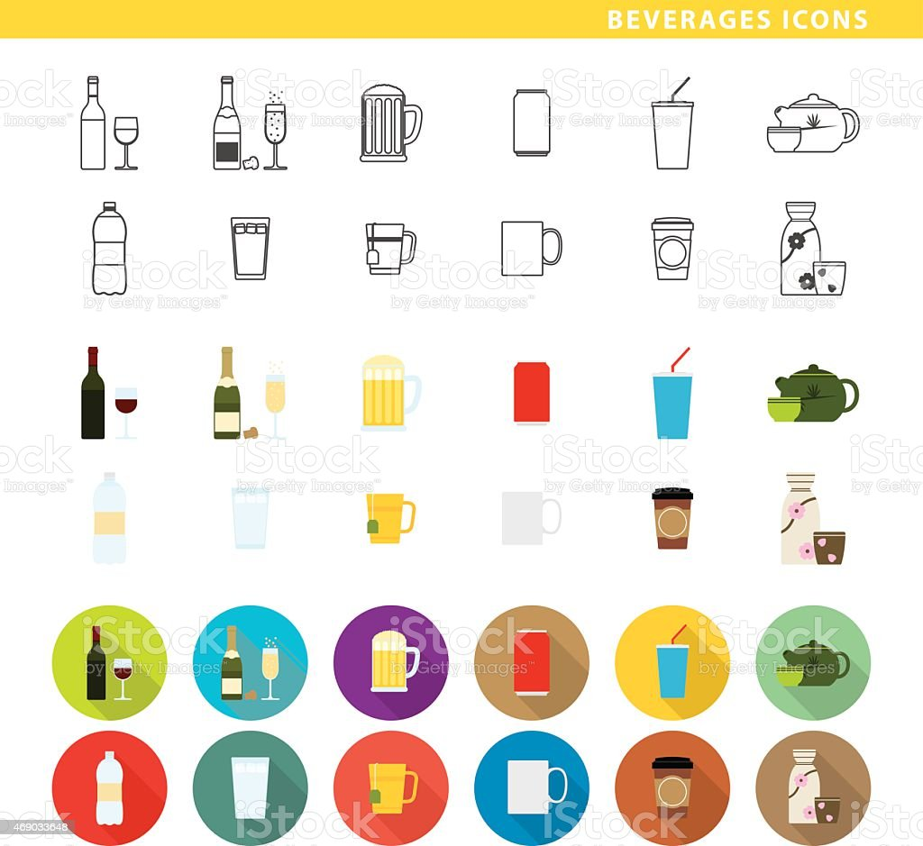 Beverages icons. vector art illustration