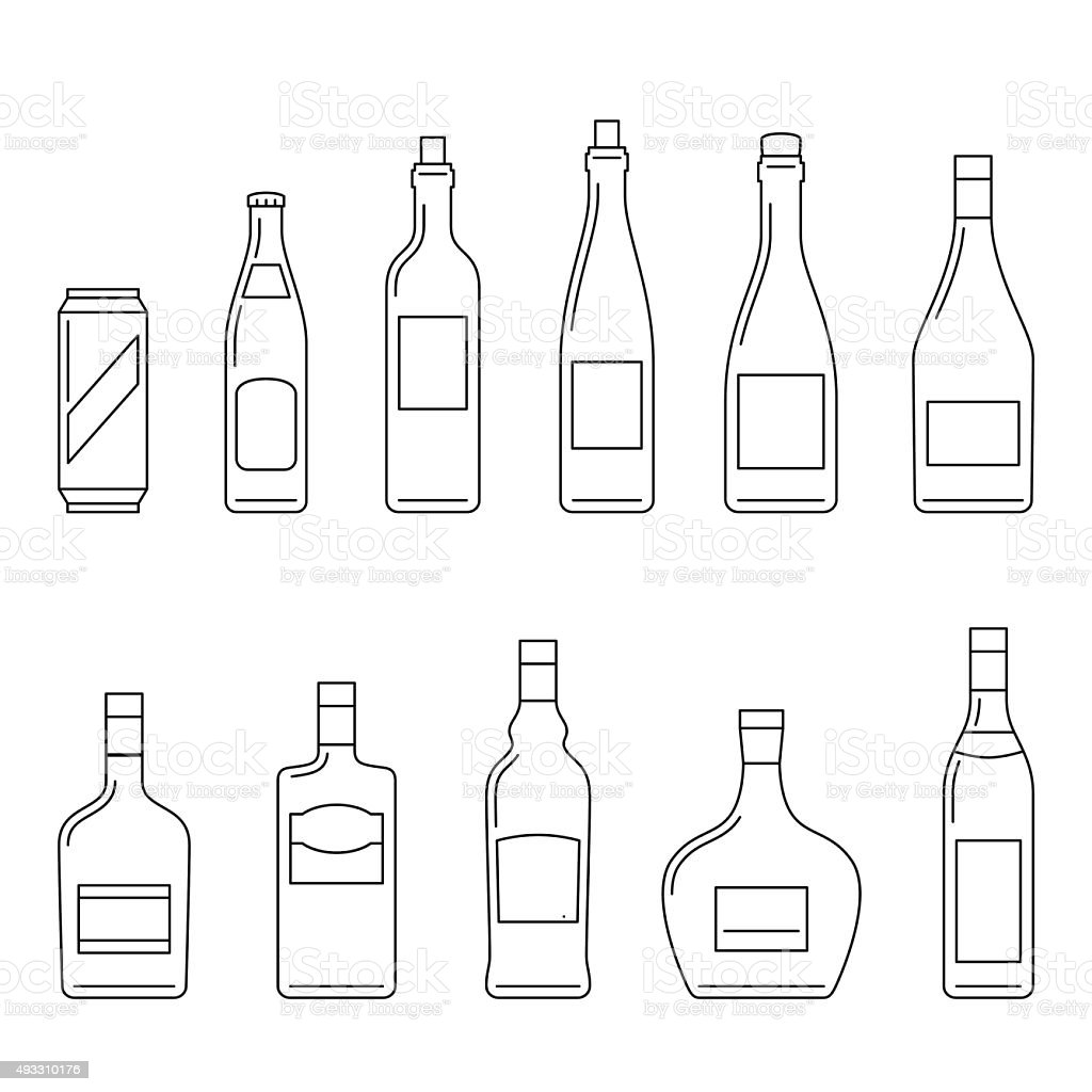 Beverages thin icons vector art illustration