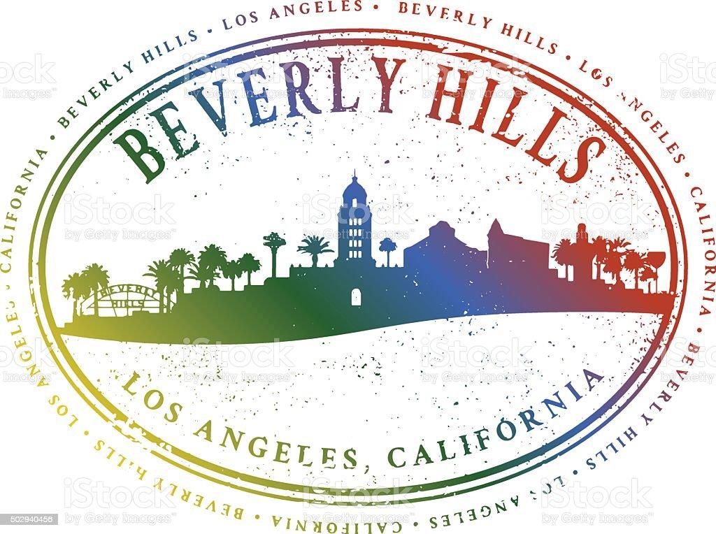 Beverly Hills Cityscape Stamp vector art illustration