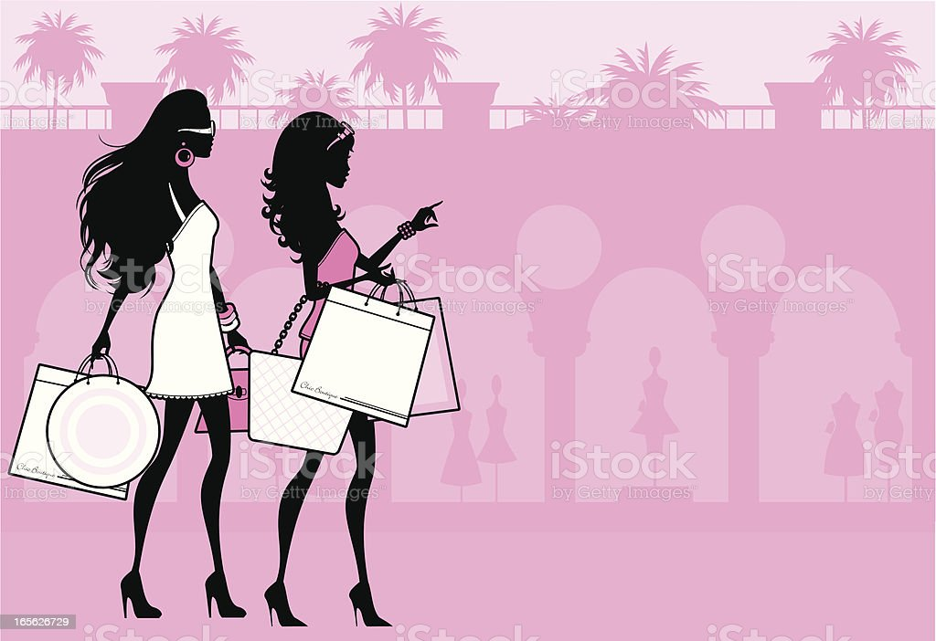 Beverly Hills Shoppers royalty-free stock vector art