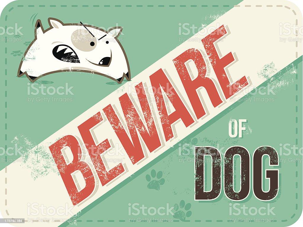 Beware of Dog vintage sign royalty-free stock vector art