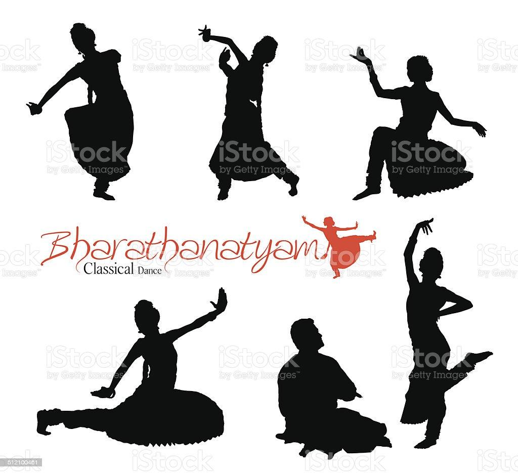 Bharatanatyam Silhouette vector art illustration