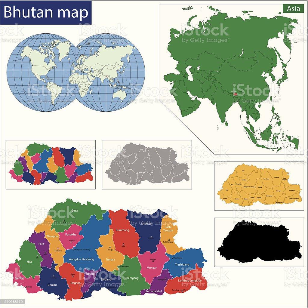 Bhutan map vector art illustration