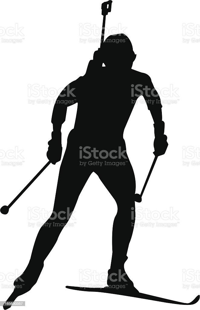 Biathlon competitor vector art illustration