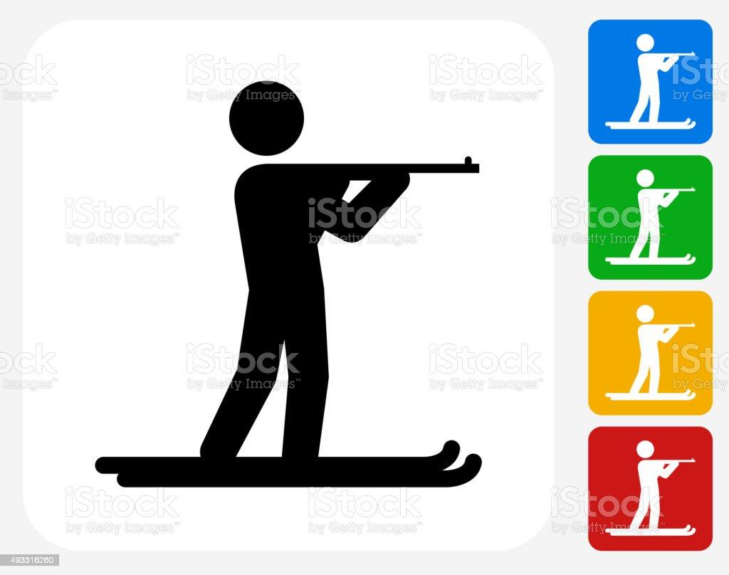Biathlon Icon Flat Graphic Design vector art illustration