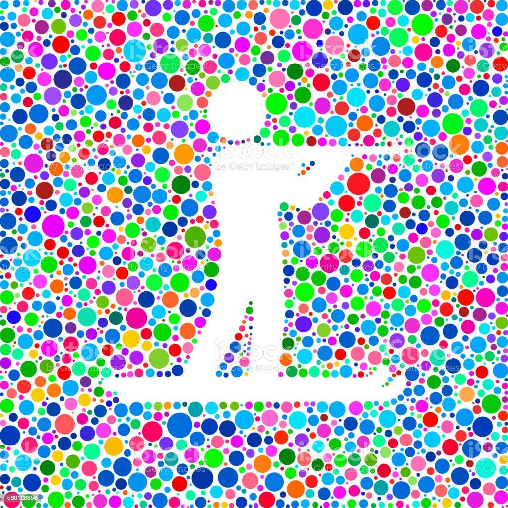 Biathlon Icon on Color Circle Background Pattern vector art illustration