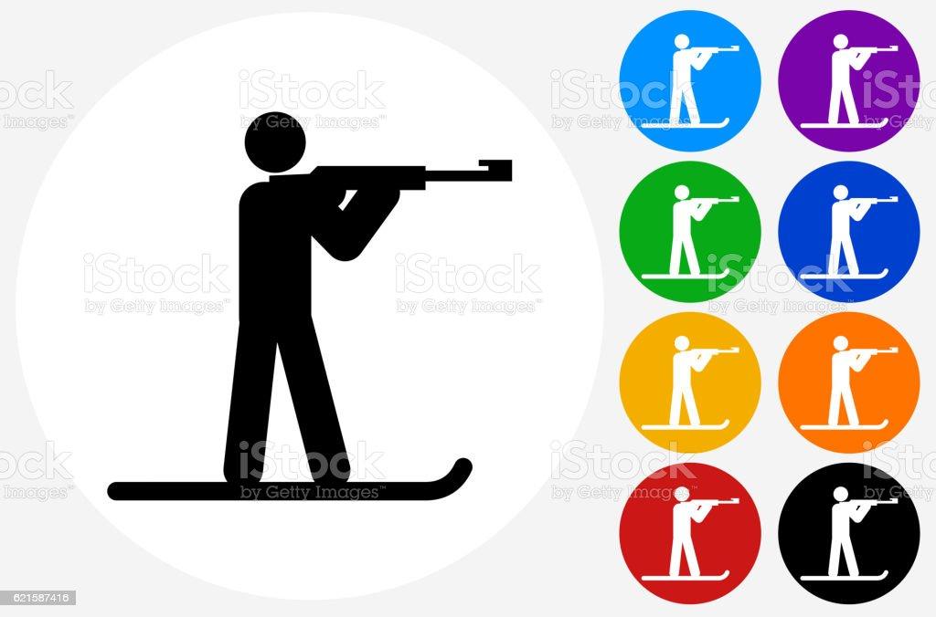 Biathlon Icon on Flat Color Circle Buttons vector art illustration