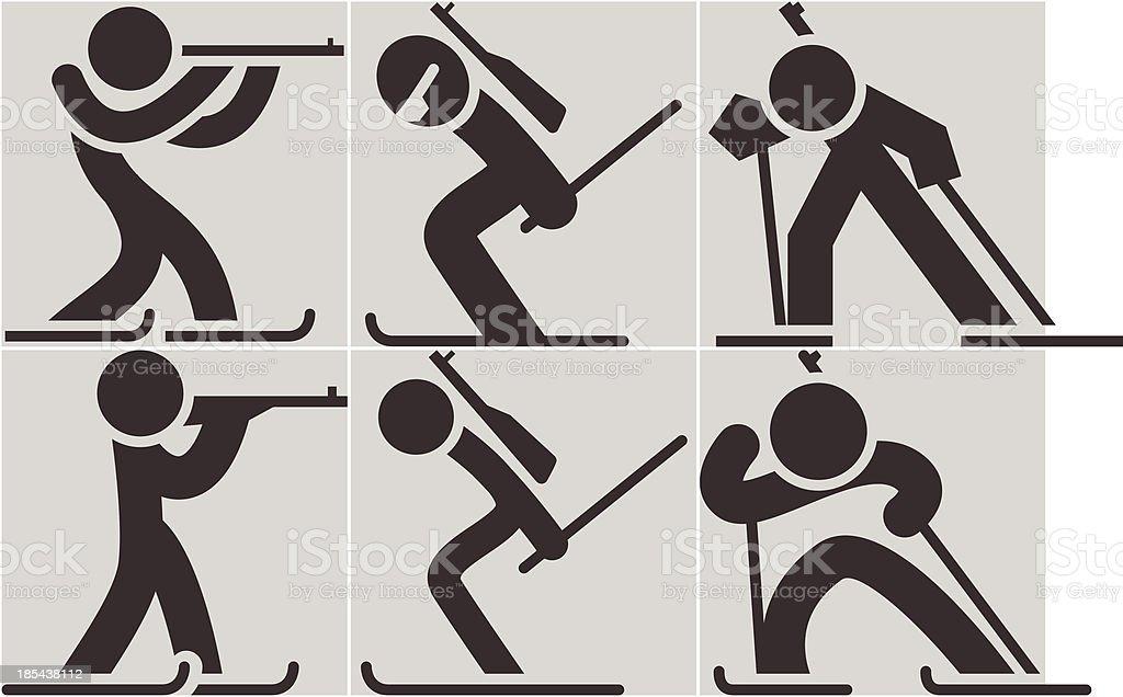 Biatlon icons royalty-free stock vector art