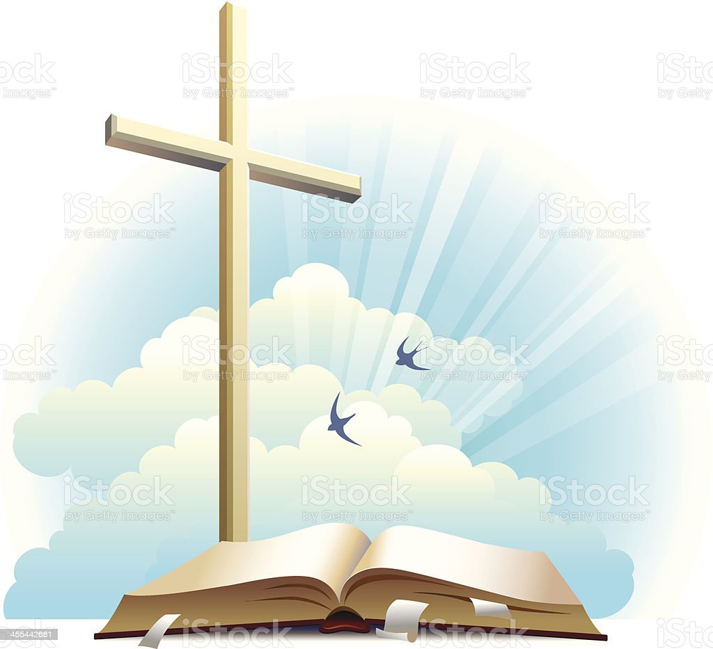 Bible and cross. royalty-free stock vector art