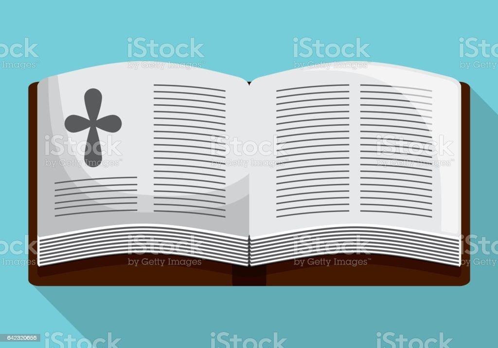 bible book cross icon. Vector graphic vector art illustration