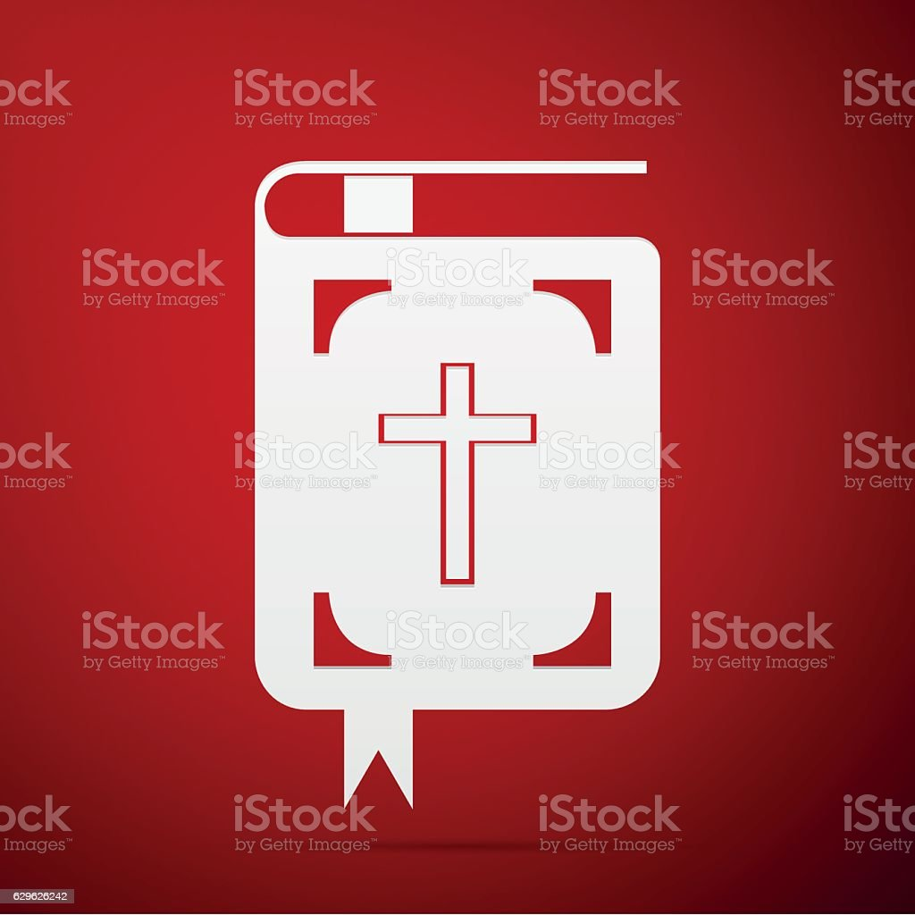Bible flat icon on red background. Vector Illustration vector art illustration