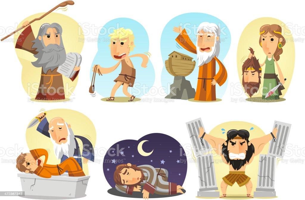 Bible Heroes Samson Noe Moises Judith David Joseph Abraham royalty-free stock vector art