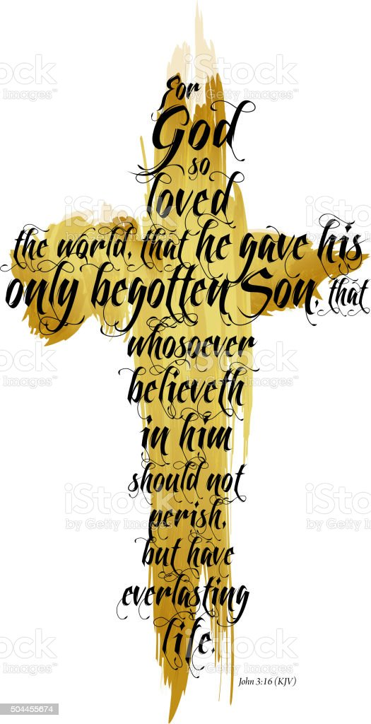 Bible John 3:16 KJV vector art illustration