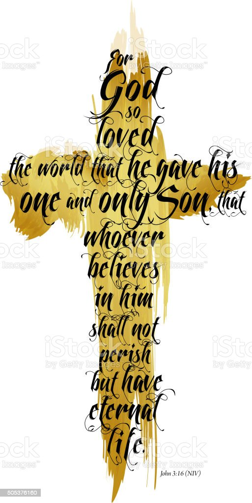Bible John 3-16 NIV vector art illustration