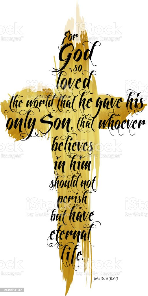 Bible John 3-16 RSV vector art illustration