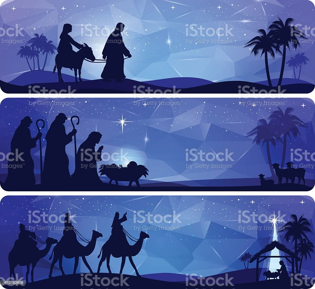 Bible Story - Nativity vector art illustration