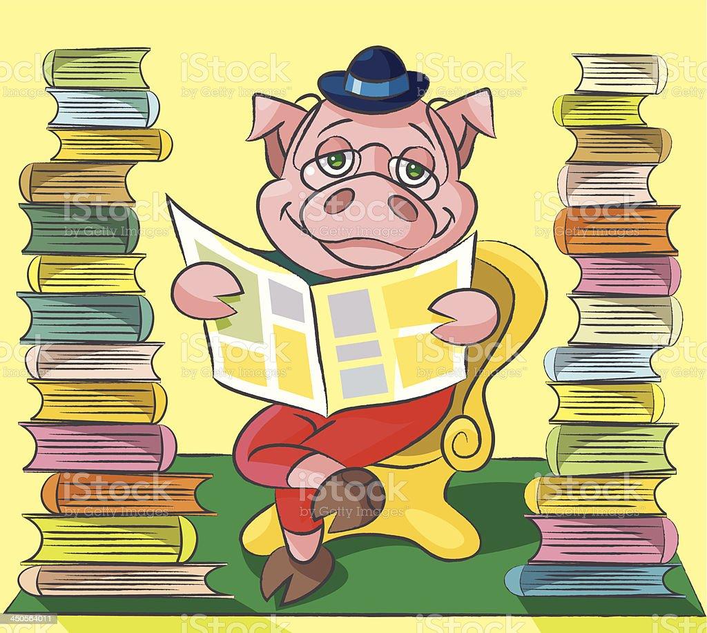 Bibliophile - pig vector art illustration