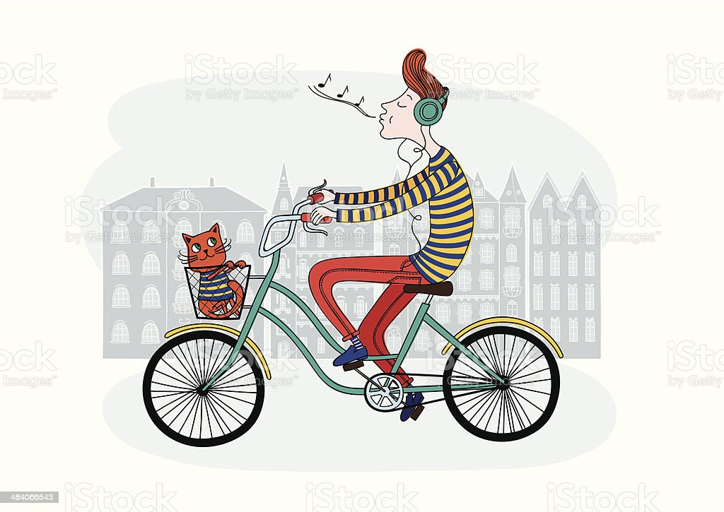 bicycle and boy royalty-free stock vector art