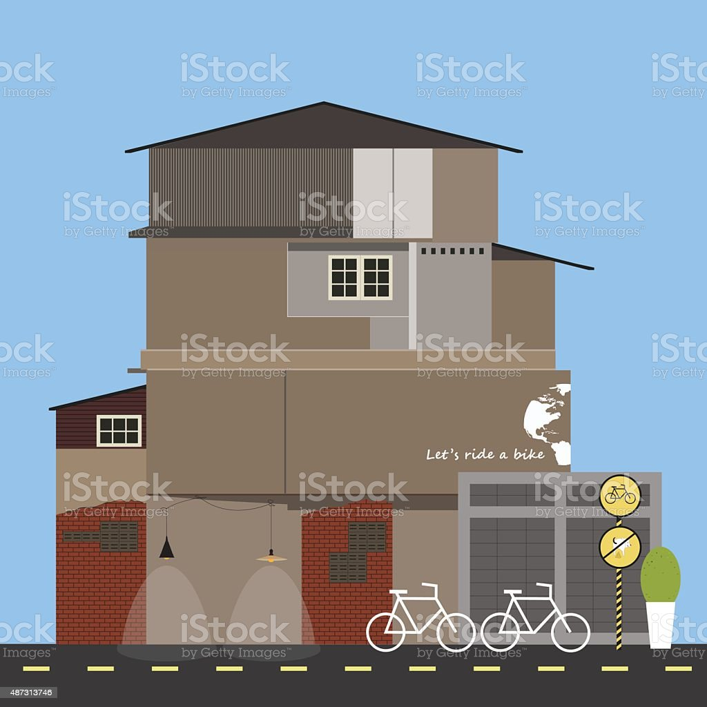 Bicycle and old house. Quiet village street. Vector illustration vector art illustration