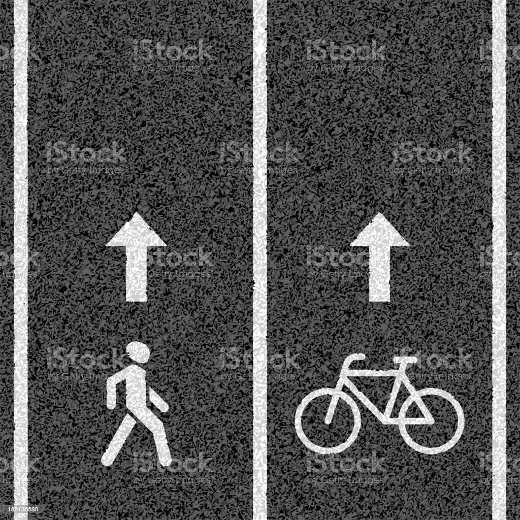 Bicycle and pedestrian paths vector art illustration