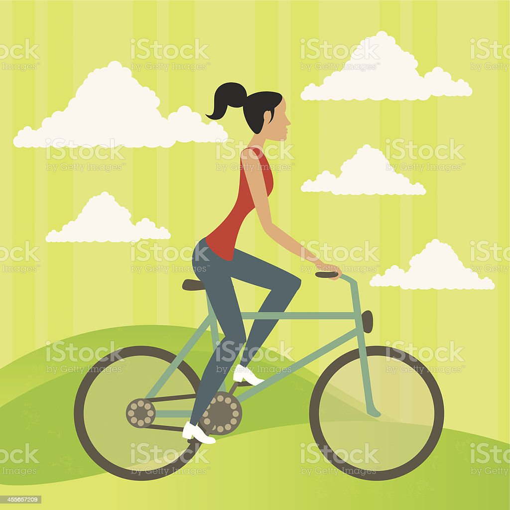 Bicycle and woman vector art illustration