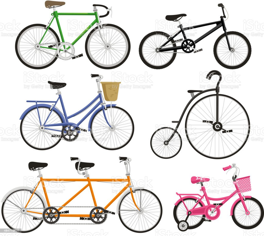 Bicycle Bike Cycling Cyclist Transportation Type vector art illustration