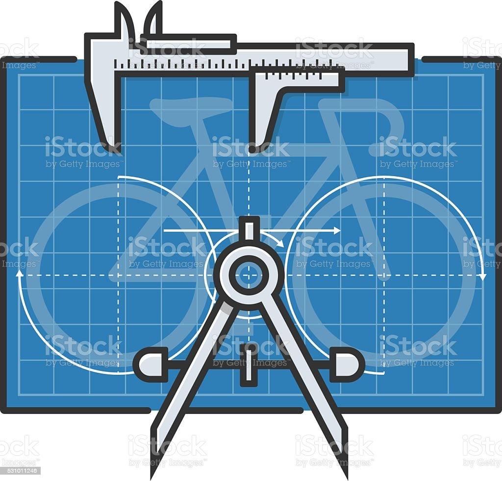 Bicycle Blueprint vector art illustration