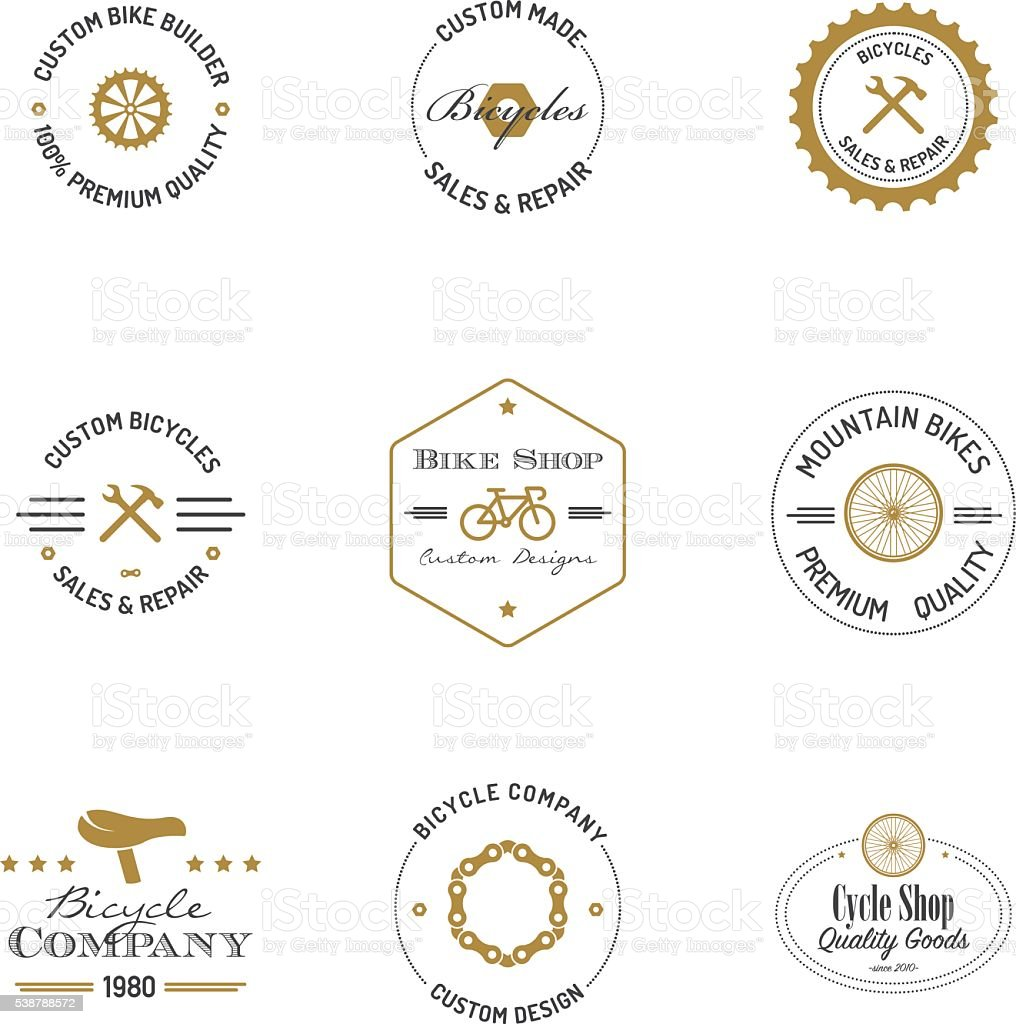 Bicycle builder badges with text vector art illustration
