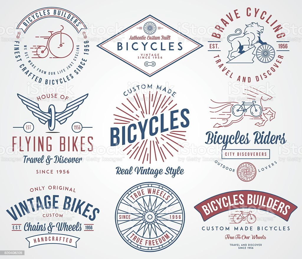 Bicycle builders set 2 colored vector art illustration
