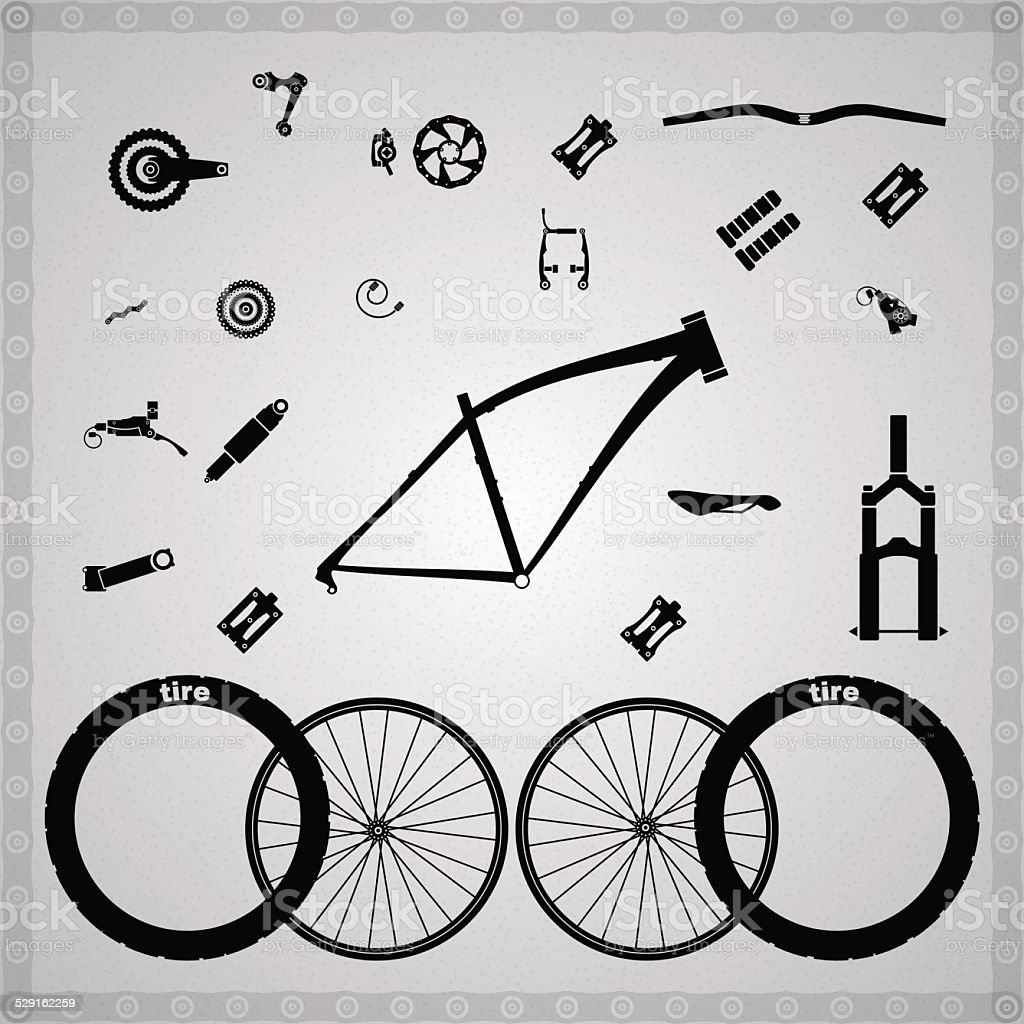 Bicycle components. vector art illustration
