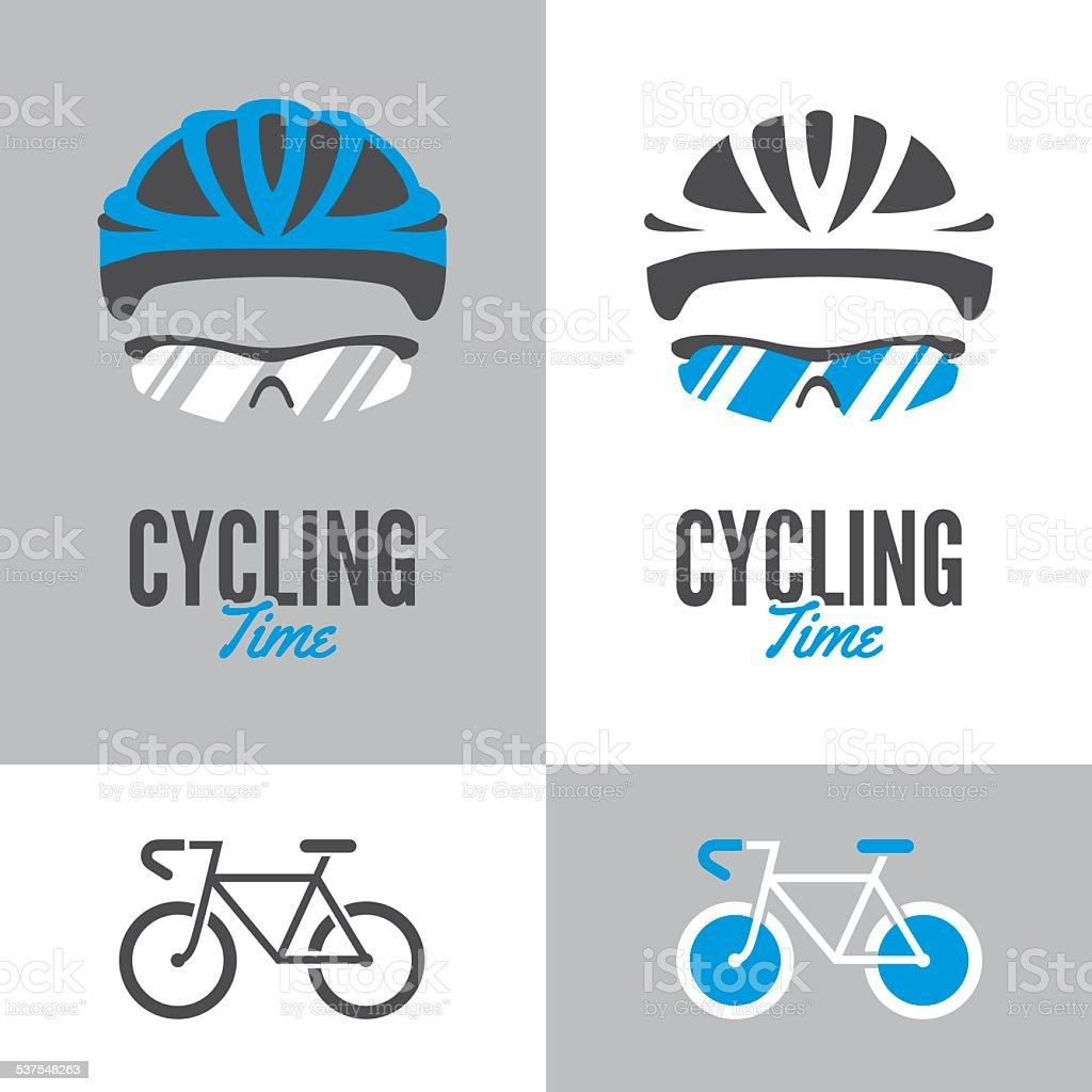 Bicycle, cycling helmet and glasses vector art illustration
