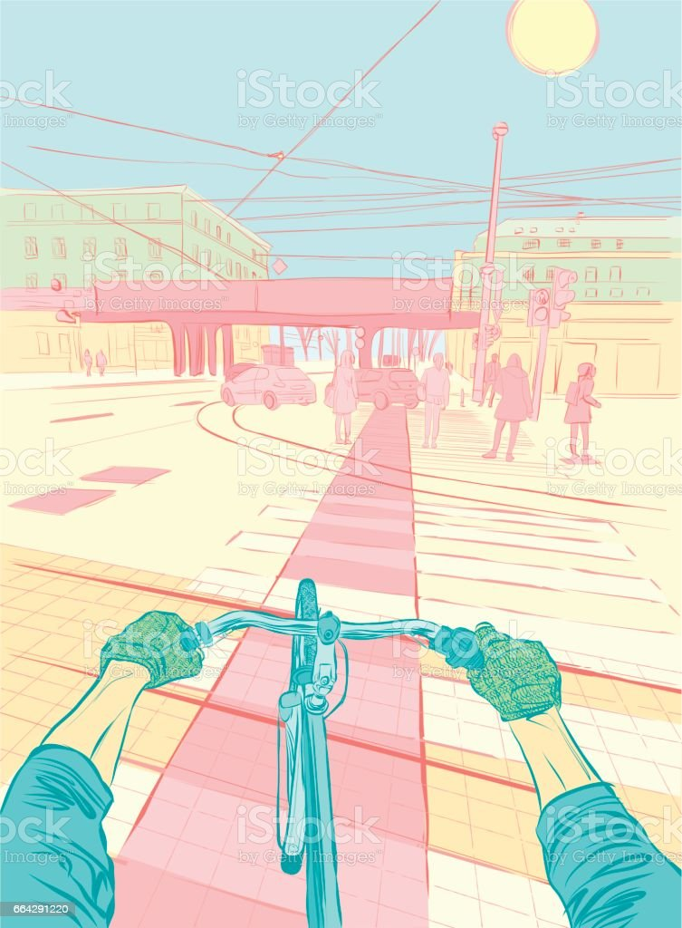 Bicycle Driver Point Of View Urban Scene vector art illustration