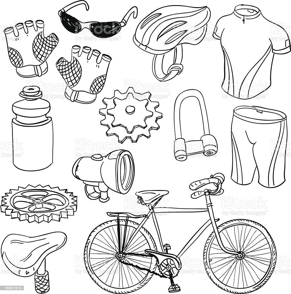 Bicycle equipment in black and white vector art illustration