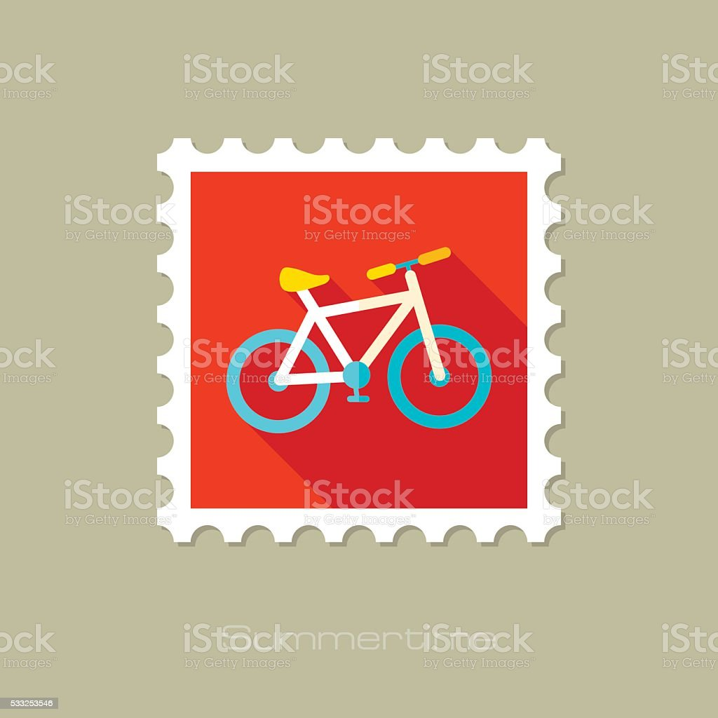 Bicycle flat stamp with long shadow stock photo